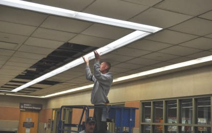 New lighting goes up in airport