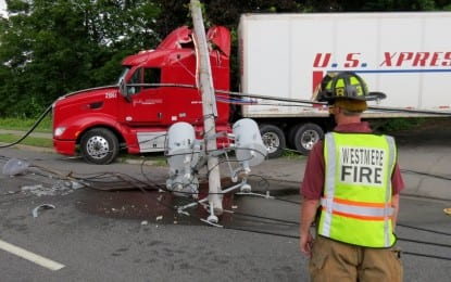 Truck driver trapped after crashing into power lines