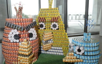 Construction with cans