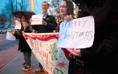 Why Bethlehem denied a request to post a Christmas sign on town property, and what happened next
