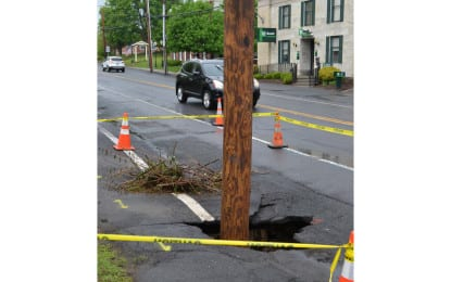 Sinkhole on Delaware Avenue in Delmar