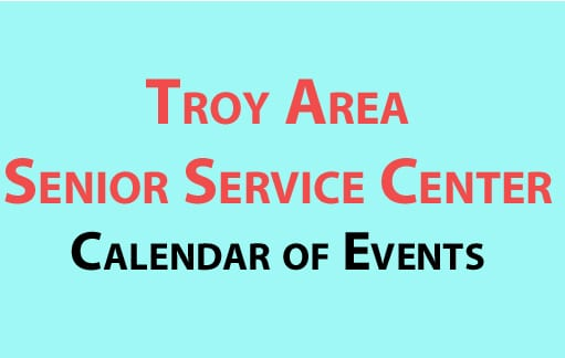 Troy Area Senior Service Center calendar of events for January 2017