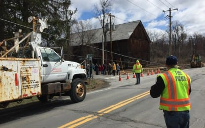 Slow and steady: Century-old barn moves to its  new home across the street