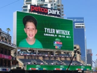 San Diego kid: Tyler Witazek demonstrates his skills at Major League Baseball's Pitch, Hit & Run finals at Petco Park
