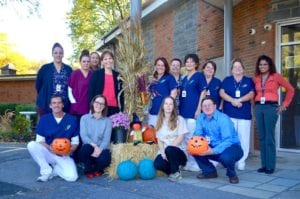 Staff at the Guilderland Center Rehabilitation and Extended Care Facility prepared for their first teal-tinted Spooktacular celebration // Photo provided.