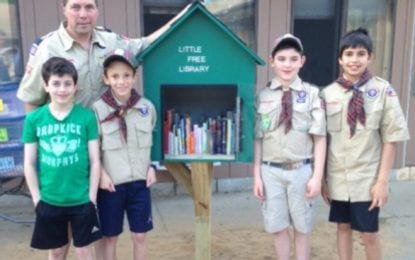 Slingerlands scouts build, stock little free library for homeless families