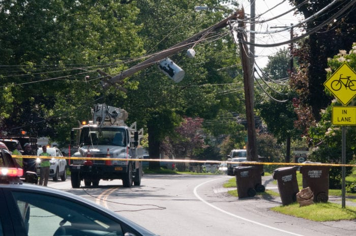 Snapped utility pole snarls rush hour traffic in Delmar