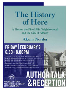 """The History of Here"" Author Talk @ Albany Public Library - Pine Hills 