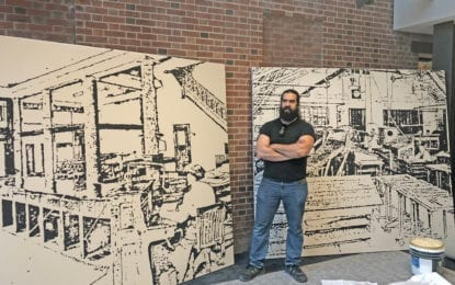 New luxury mixed-use apartment complex in the old Troy Record building hires local artist  to highlight the building's past