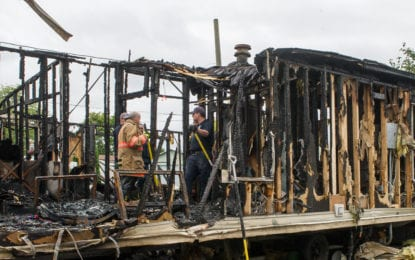 Fire destroys home in Colonie trailer park