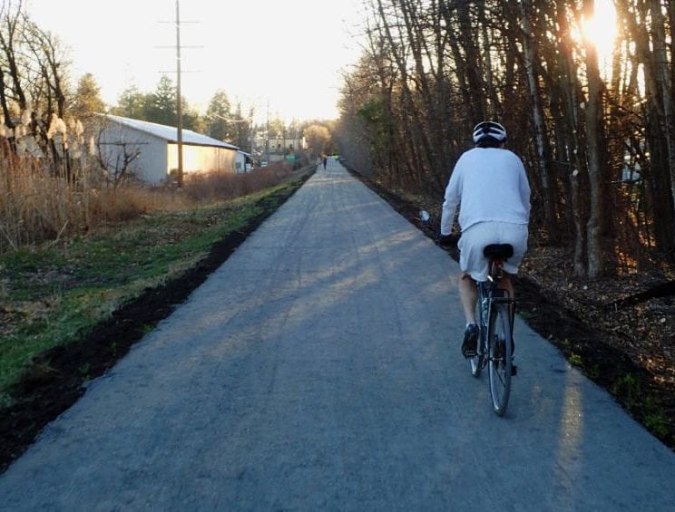 People take to the Rail Trail to enjoy the  fall foliage, and it's good for local business
