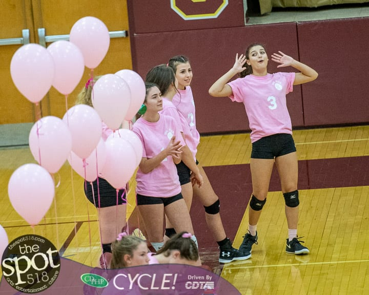 SPOTTED: Colonie girls volleyball team beats Shaker on Pink out the Gym night