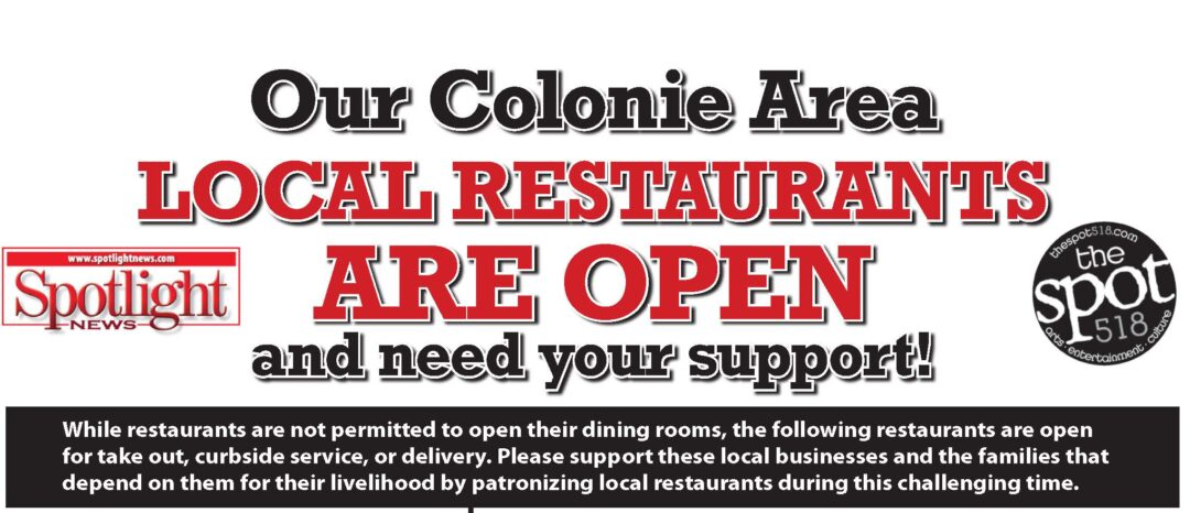 Colonie Spotlight area restaurant list: March 27, 2020 daily edition