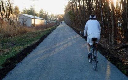 Continue social distancing even on the crowded Rail Trail